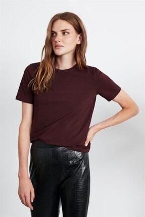 GRIMELANGE Hannah Kadın Bordo Yuvarlak Yakalı Basic T-shirt 1