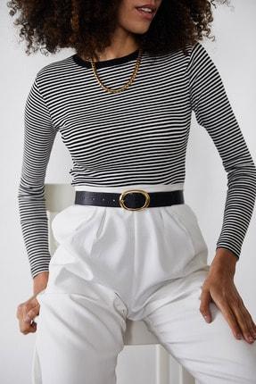 Xena Kadın Siyah Çizgili Fitilli Bluz 1KZK2-11373-02 2
