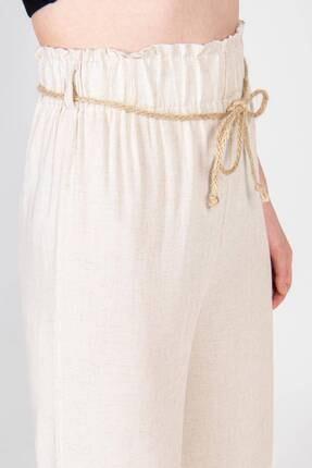 Addax Kadın Bej Bağcık Detaylı Bol Pantolon PN70540 - B6 ADX-0000018125 2