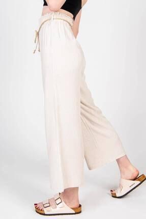 Addax Kadın Bej Bağcık Detaylı Bol Pantolon PN70540 - B6 ADX-0000018125 3