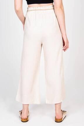 Addax Kadın Bej Bağcık Detaylı Bol Pantolon PN70540 - B6 ADX-0000018125 4