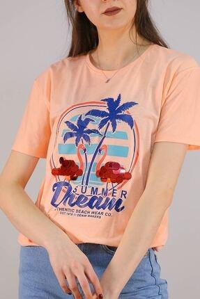 Lukas Kadın Turuncu Baskılı Pullu T-Shirt - 5012 0