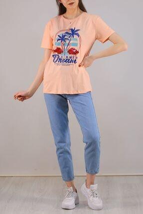 Lukas Kadın Turuncu Baskılı Pullu T-Shirt - 5012 1