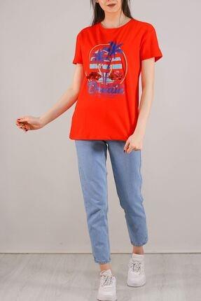 Lukas Baskılı Pullu Tişört Kırmızı - 5012.336. 1