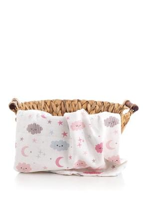 Caline Baby Müslin Bezi Örtü Bulut Desen - Pembe 120x120 Cm + 4 Adet Ağız Mendili 0