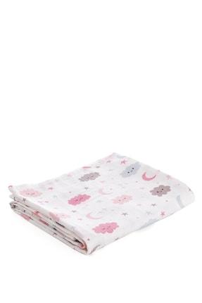 Caline Baby Müslin Bezi Örtü Bulut Desen - Pembe 120x120 Cm + 4 Adet Ağız Mendili 2
