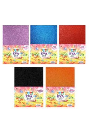 Anaokulu Kırtasiye Etkinlik Elişi Seti -10 Renk 5 Er Paket Renkli Yapışkanlı Klasik Eva Seti SİMLİYAPIŞKANLIEVASET-1