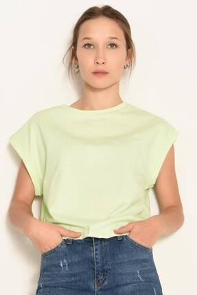 Addax Kadın Su Yeşili Bisiklet Yaka Basic T-Shirt P0934 - Dk3 Adx-0000022259 2