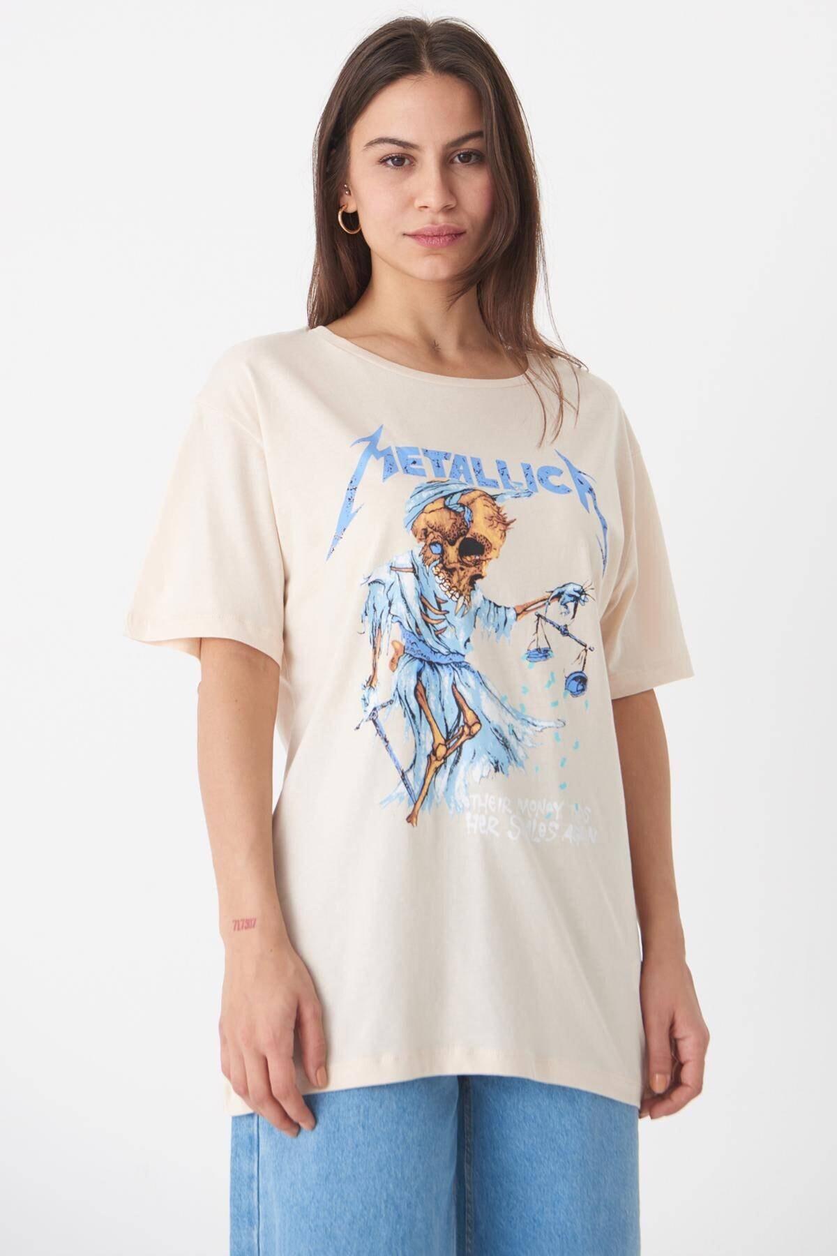 Kadın Taş Baskılı T-Shirt P0645 - T3 Adx-0000018029