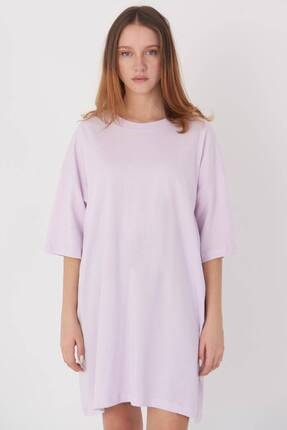 Addax Kadın Açık Lila Oversize T-Shirt P0731 - G6K7 Adx-0000020596 1