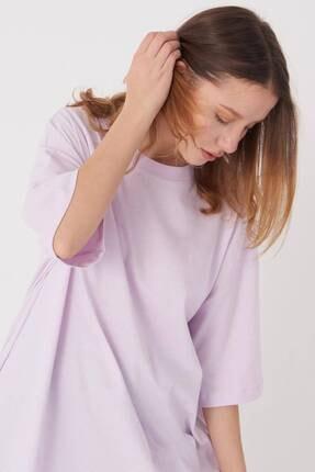 Addax Kadın Açık Lila Oversize T-Shirt P0731 - G6K7 Adx-0000020596 2