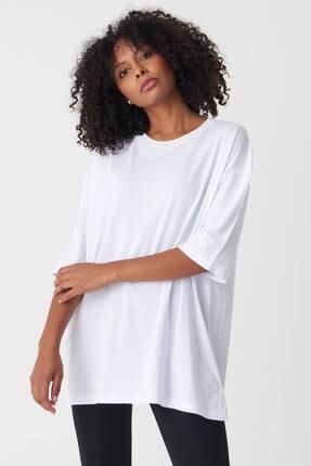 Addax Kadın Beyaz Baskılı T-Shirt P1029 - J1 Adx-0000022711 1