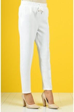 Essah Moda Kadın Beyaz Lastikli Havuç Pantolon - Me000274 2