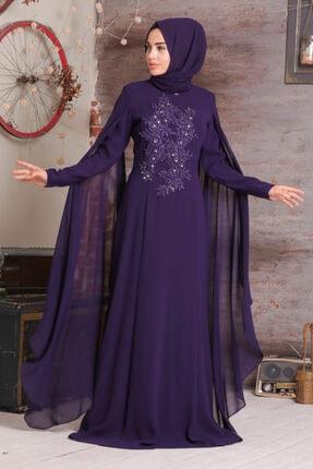 Tesettürlü Abiye Elbise - Taşlı Mor Tesettür Abiye Elbise 38380mor