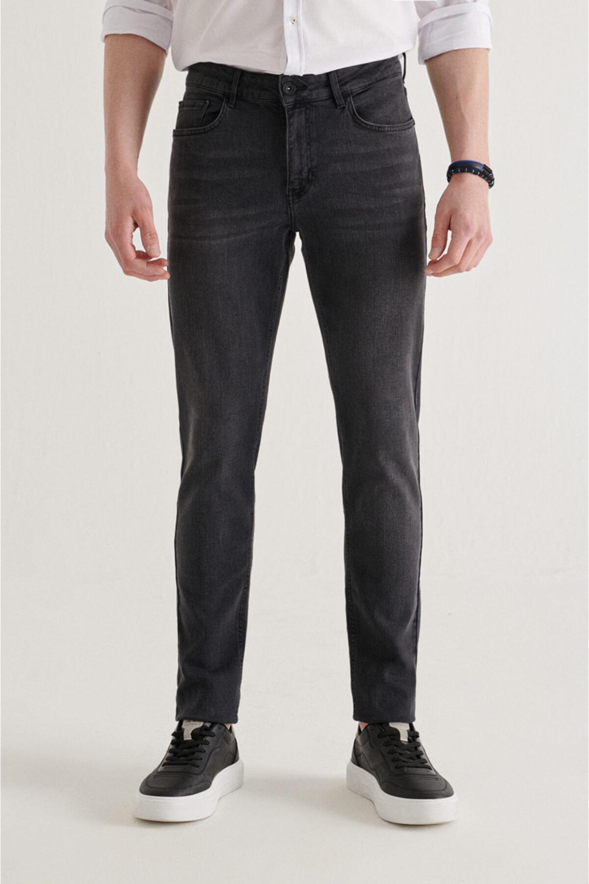Erkek Antrasit Slim Fit Jean Pantolon A11y3555