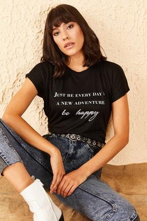 Bianco Lucci Kadın Yazı Baskılı Viskon Tshirt 1