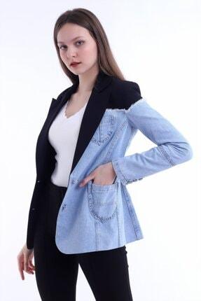 Kadın Modası Kadın Siyah Yakalı Yanı Kot Garnili Astarlı Ceket 1