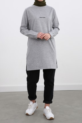 Ekrumoda Kadın Gri Pamuklu Sweatshirt 1
