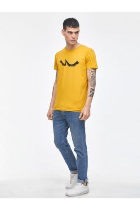 Ltb Erkek  Sarı  Baskılı  Kısa Kol Bisiklet Yaka T-Shirt 012208453260890000 2