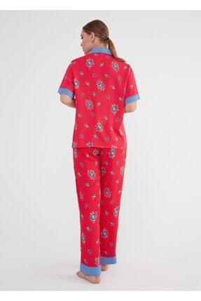 Suwen Kadın Kirmizi Baskili Vilma Maskulen Pijama Takımı 3