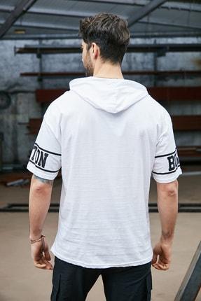 Sateen Men Erkek Beyaz Kapüşonlu  B Yaka T-Shirt 2