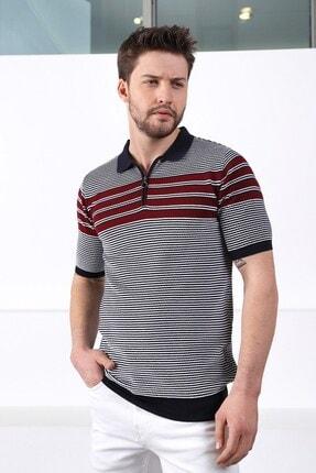 Ferraro Erkek Lacivert Polo Yaka Fermuarlı Pamuk Triko T-shirt 3