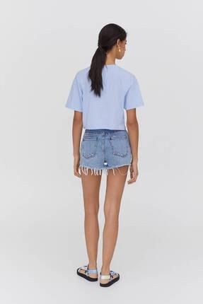 Pull & Bear Biyeli Dikişli Crop Fit T-shirt - %100 Organik Pamuklu 2