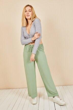 Moda Bu Kadın Mint Beli Lastikli Bol Paça Salaş Yazlık Pantolon Aerobin-865829 1