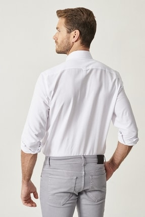 Altınyıldız Classics Erkek Beyaz Düğmeli Yaka Tailored Slim Fit Oxford Gömlek 4