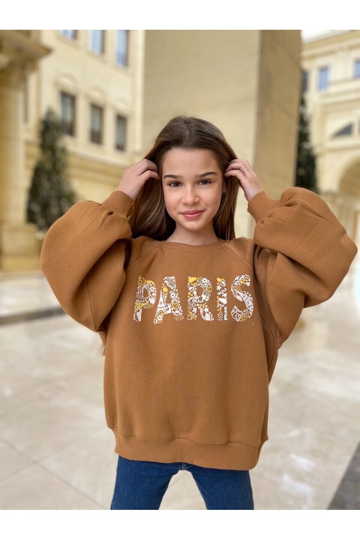 Kız Çocuk Slogan Baskılı Sweatshırt - 201201005