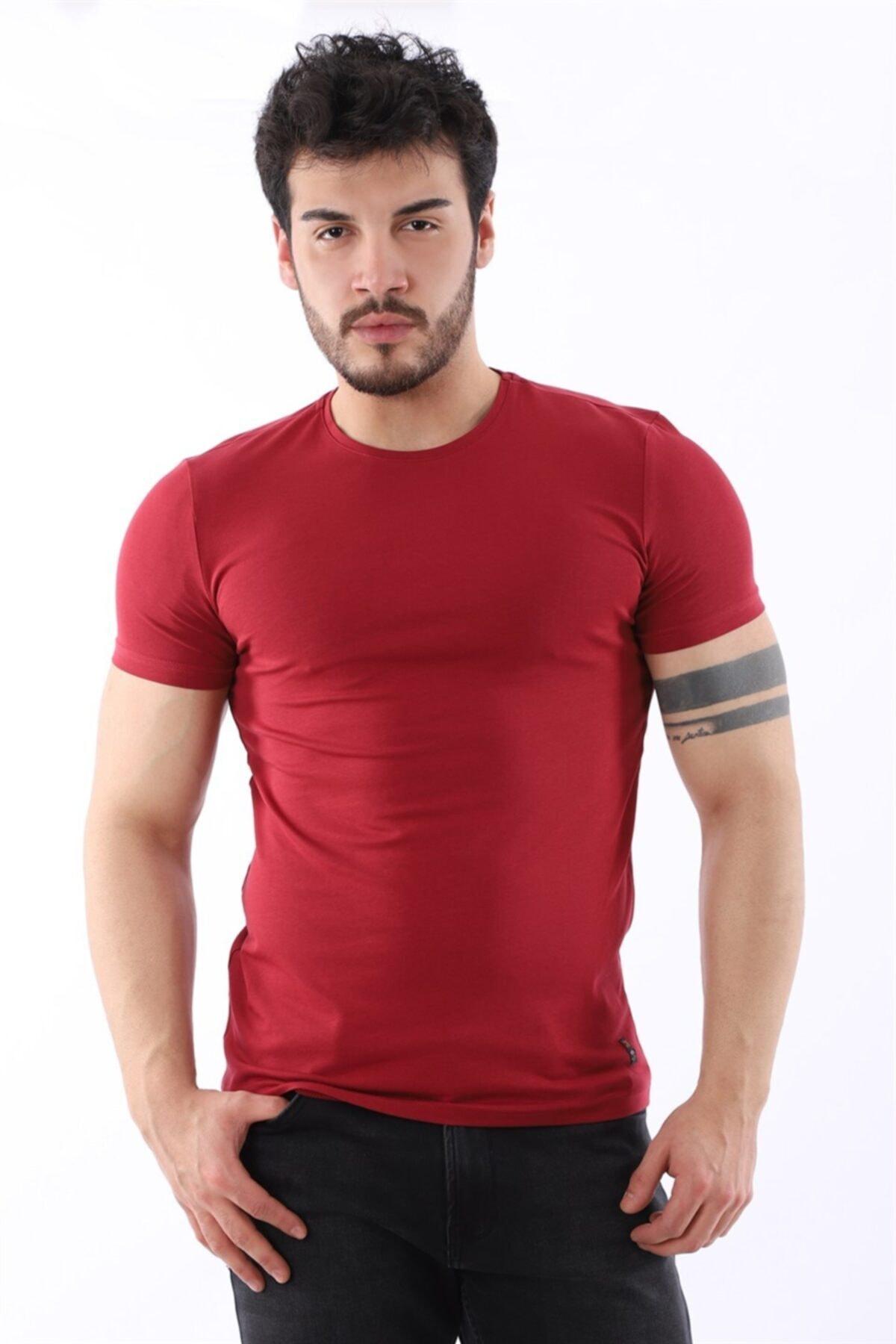 Erkek Sıfır Yaka Likralı Slim Fit Bordo T-shirt