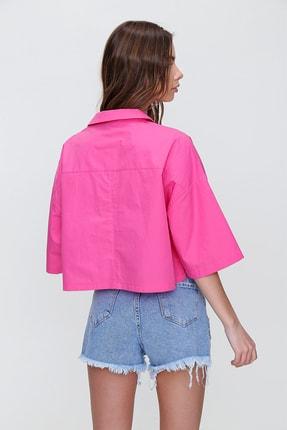 Trend Alaçatı Stili Kadın Fuşya Zarf Cepli Crop Poplin Gömlek ALC-X6045 3