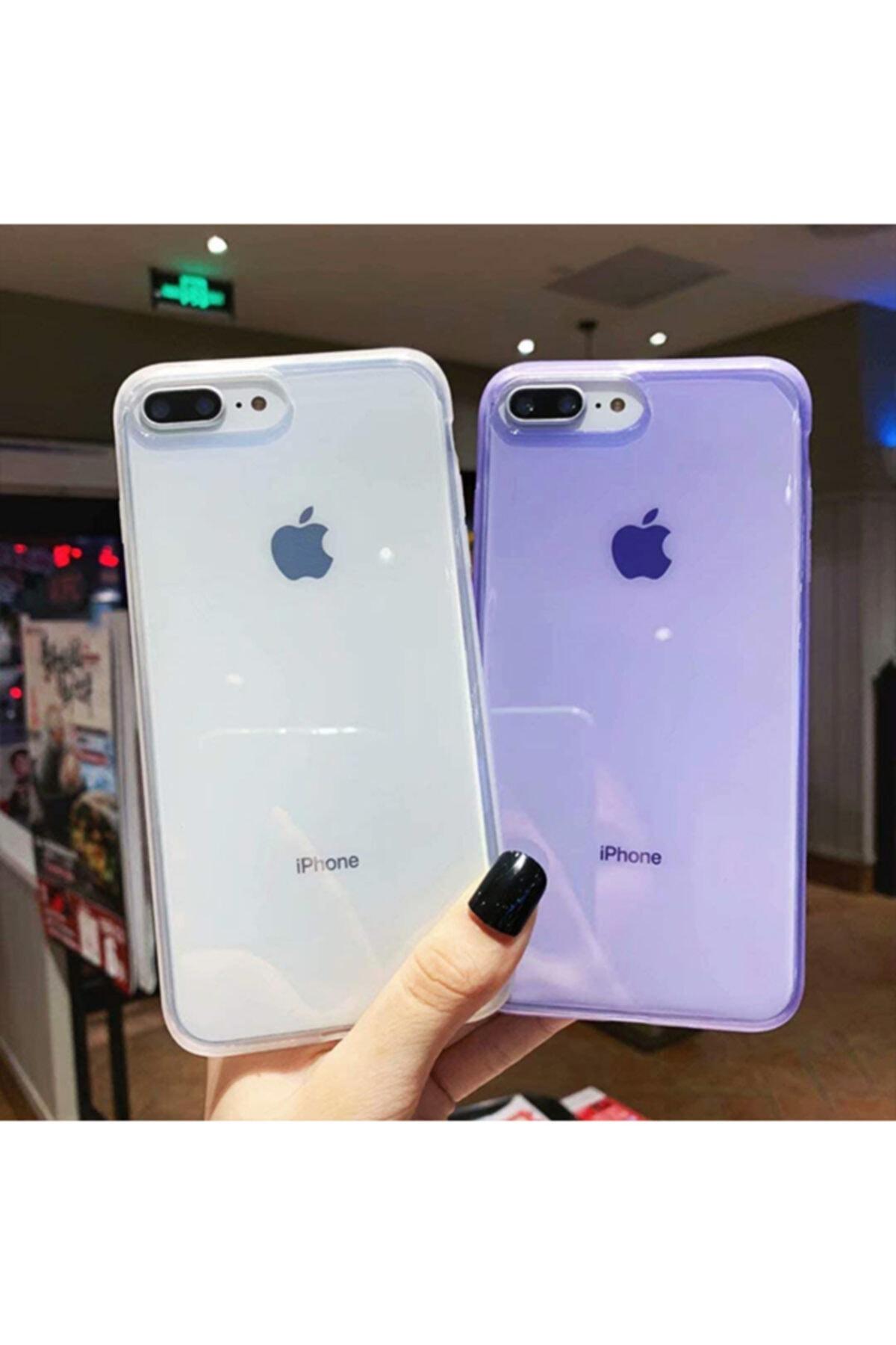 Molly Iphone 7/8 Plus Uyumlu Mor Süper Crystal Şeffaf Silikon Kılıf