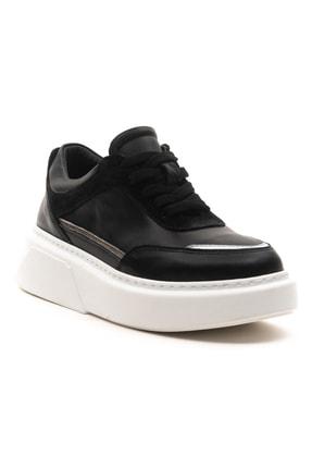 GRADA Kadın Siyah Hakiki Deri Bağcıklı Spor Sneaker Ayakkabı 2