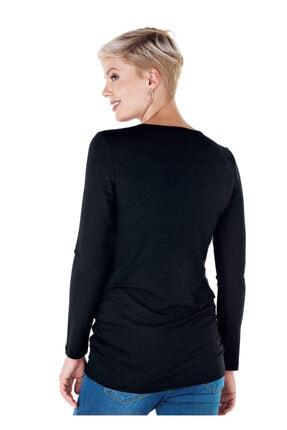 Ebru Maternity Kadın Siyah Renkli Taşlı Hamile Tişörtü 3