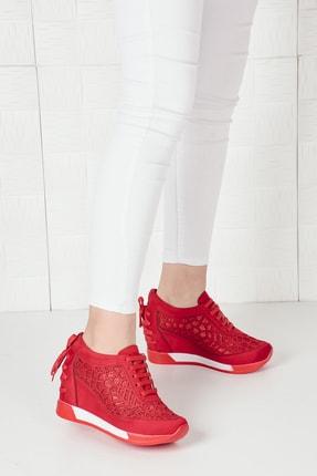 Weynes Kadın Kırmızı Süet Bağcıklı Yüksek Taban Gizli Topuk Spor Ayakkabı Ba20250 1