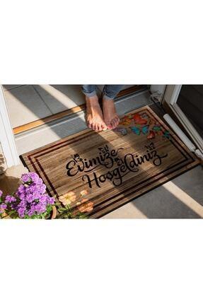 Evsebu Pienso Home Evimize Hoşgeldiniz Tahta Desenli Kapı Önü Paspası 2