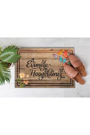 Evsebu Pienso Home Evimize Hoşgeldiniz Tahta Desenli Kapı Önü Paspası 3