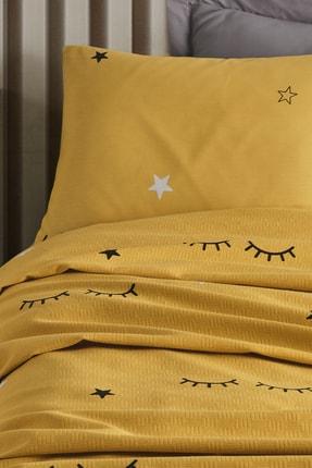 Enlora Home %100 Doğal Pamuk Pike Takımı Tek Kişilik Dide Sarı 1