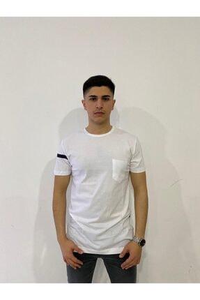 تصویر از Erkek Beyaz Uzun T-Shirt