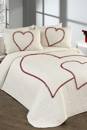 Evlen Home Kalbim Ponponlu Yatak Örtüsü Ç.k Krem 0