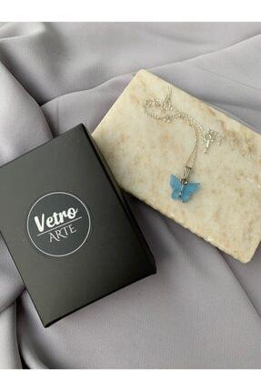 Vetro Arte 925 Ayar Gümüş Zincirli Mavi Kelebek Kolye 0