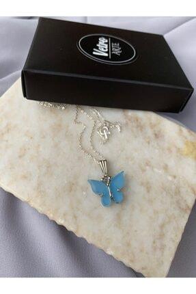 Vetro Arte 925 Ayar Gümüş Zincirli Mavi Kelebek Kolye 1