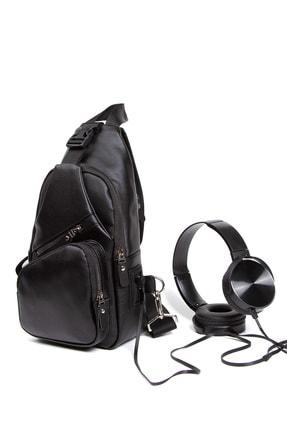 Leyl Yıkama Deri Göğüs Çantası Kulaklık Ve Şarj Çıkışlı Tek Kol Çarpraz Bodybag Mini Sırt Çanta 2