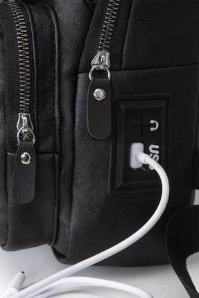 Leyl Yıkama Deri Göğüs Çantası Kulaklık Ve Şarj Çıkışlı Tek Kol Çarpraz Bodybag Mini Sırt Çanta 3