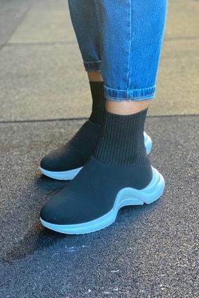 Modayı Tıkla Kadın  Yüksek Taban Çorap Model Siyah Ayakkabı 2