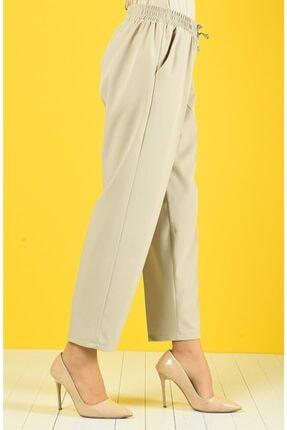 Essah Moda Kadın Ekru Lastikli Havuç Pantolon - Me000271 1