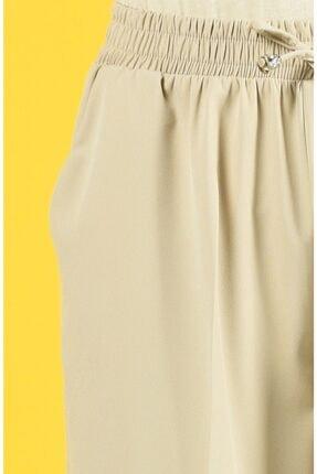 Essah Moda Kadın Ekru Lastikli Havuç Pantolon - Me000271 2