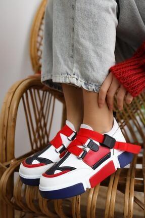 Limoya Lana Deri Kırmızı/beyaz Lastikli Spor Ayakkabı 2