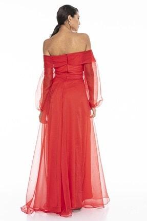 Abiye Sarayı Kadın Kırmızı Kayık Yaka Yırtmaç Ve Kemer Detaylı Tül Uzun Abiye Elbise 3
